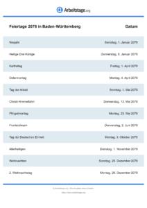 Feiertage Baden-Württemberg 2078 DIN A0