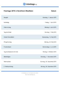 Feiertage Nordrhein-Westfalen 2078 DIN A0