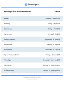 Feiertage Rheinland-Pfalz 2078 DIN A0