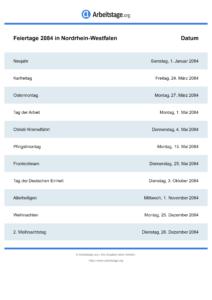 Feiertage Nordrhein-Westfalen 2084 DIN A0