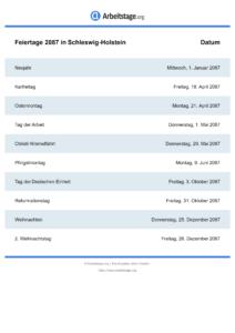 Feiertage Schleswig-Holstein 2087 DIN A0