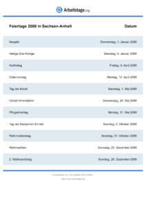 Feiertage Sachsen-Anhalt 2088 DIN A0