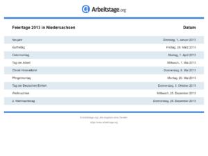 Feiertage 2013 Niedersachsen