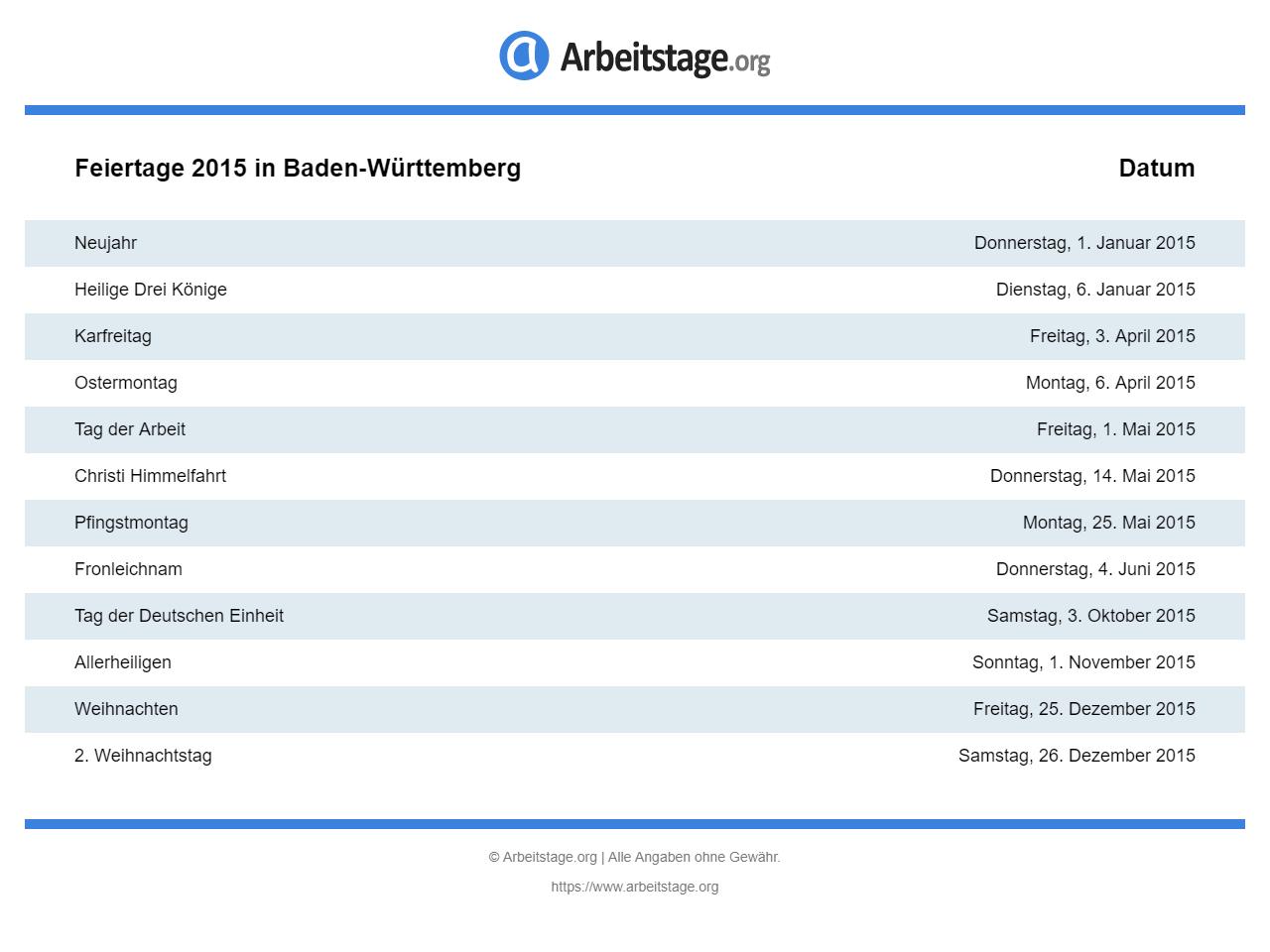 Feiertage 2015 Baden Württemberg Bw