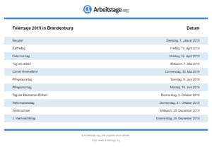 Feiertage 2019 Brandenburg
