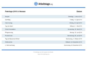 Feiertage 2019 Hessen