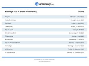 Feiertage 2020 Baden-Württemberg