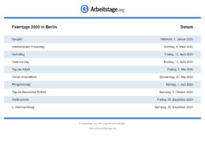 Feiertage 2020 Berlin