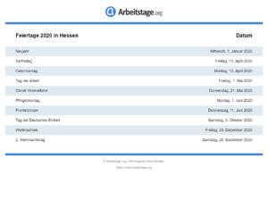 Feiertage 2020 Hessen