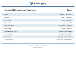 Feiertage 2020 Mecklenburg-Vorpommern