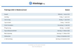 Feiertage 2020 Niedersachsen