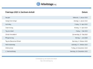 Feiertage 2020 Sachsen-Anhalt