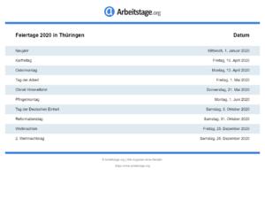 Feiertage 2020 Thüringen