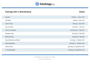 Feiertage 2021 Brandenburg