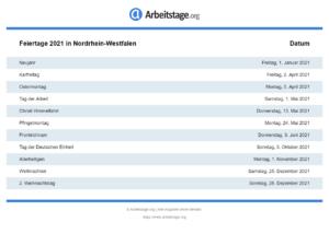 Feiertage 2021 Nordrhein-Westfalen