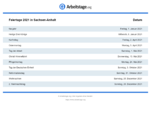 Feiertage 2021 Sachsen-Anhalt