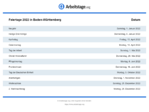 Feiertage 2022 Baden-Württemberg