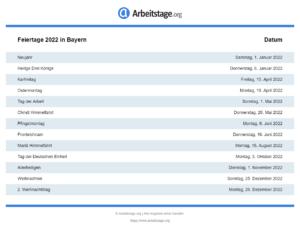 Feiertage 2022 Bayern
