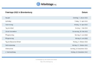 Feiertage 2022 Brandenburg