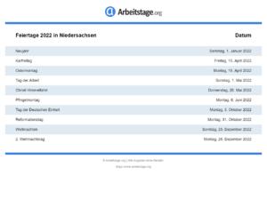 Feiertage 2022 Niedersachsen