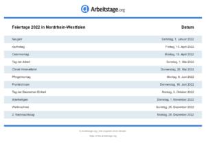 Feiertage 2022 Nordrhein-Westfalen