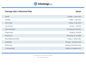 Feiertage 2022 Rheinland-Pfalz