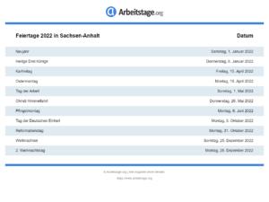 Feiertage 2022 Sachsen-Anhalt