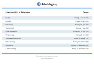 Feiertage 2022 Thüringen