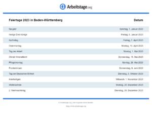 Feiertage 2023 Baden-Württemberg