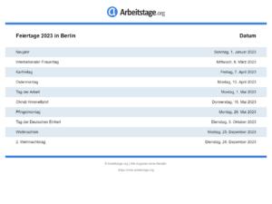 Feiertage 2023 Berlin
