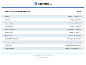 Feiertage 2023 Brandenburg