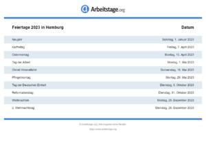 Feiertage 2023 Hamburg
