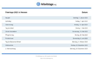 Feiertage 2023 Hessen