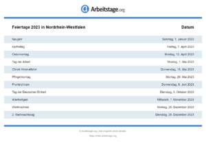 Feiertage 2023 Nordrhein-Westfalen