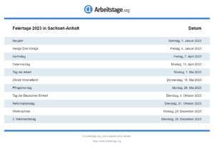 Feiertage 2023 Sachsen-Anhalt