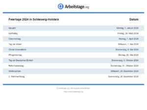 Feiertage 2024 Schleswig-Holstein