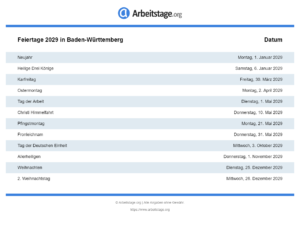 Feiertage 2029 Baden-Württemberg