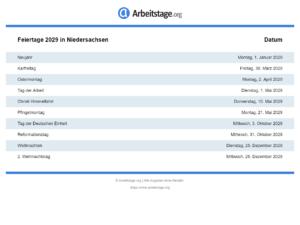 Feiertage 2029 Niedersachsen