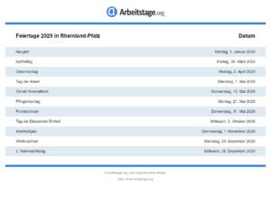 Feiertage 2029 Rheinland-Pfalz