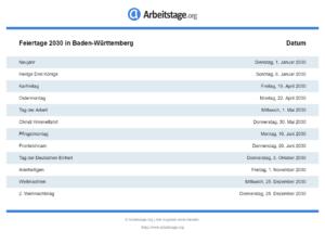 Feiertage 2030 Baden-Württemberg