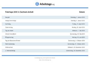 Feiertage 2030 Sachsen-Anhalt