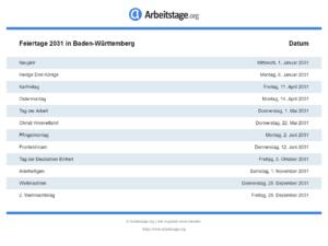 Feiertage 2031 Baden-Württemberg