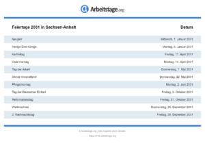 Feiertage 2031 Sachsen-Anhalt