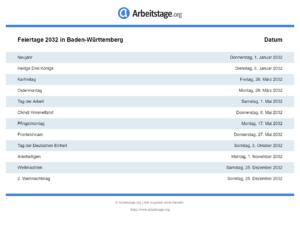 Feiertage 2032 Baden-Württemberg