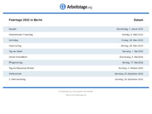 Feiertage 2032 Berlin