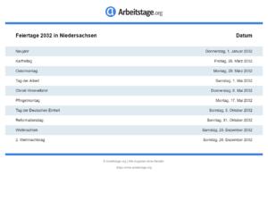 Feiertage 2032 Niedersachsen