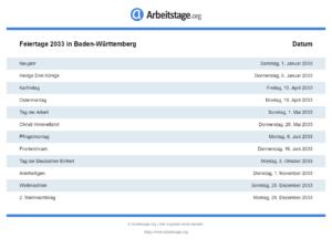 Feiertage 2033 Baden-Württemberg