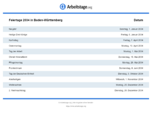 Feiertage 2034 Baden-Württemberg