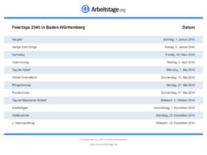 Feiertage 2040 Baden-Württemberg