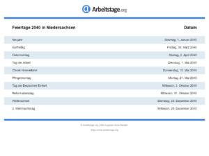 Feiertage 2040 Niedersachsen